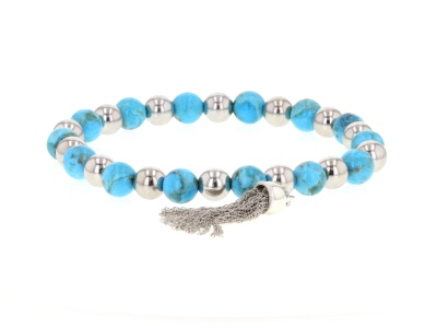 Turquoise Rhodium Over Sterling Silver Tassel Stretch Bracelet