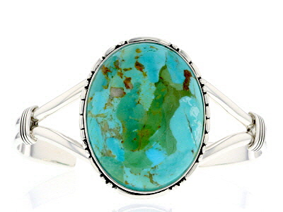 Turquoise Rhodium Over Sterling Silver Bracelet