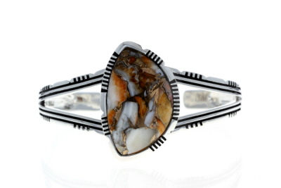 Spiny Oyster Shell Rhodium Over Silver Cuff Bracelet
