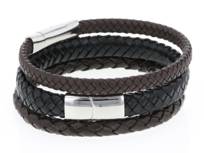 Mens Brown And Black Leather Stainless Steel Bracelet Set Of Three