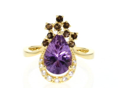Purple amethyst 18k gold over silver ring 2.68ctw