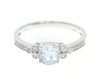 Blue aquamarine rhodium over silver ring .72ctw