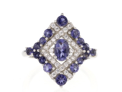 Blue iolite rhodium over silver ring 1.72ctw