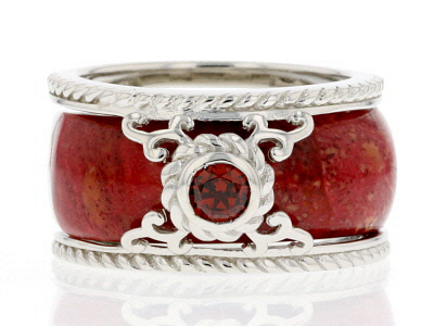 Red Sponge Coral Rhodium Over Silver 2-Ring Set .34ct
