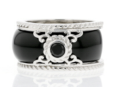 Black Onyx Rhodium Over Silver 2-Ring Set .25ct