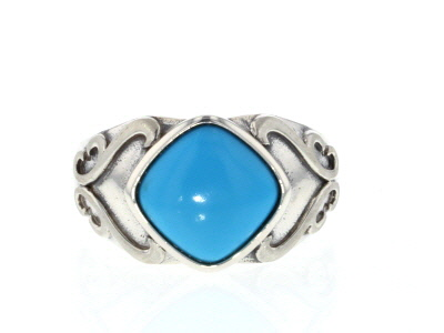 Blue Sleeping Beauty turquoise rhodium over silver ring