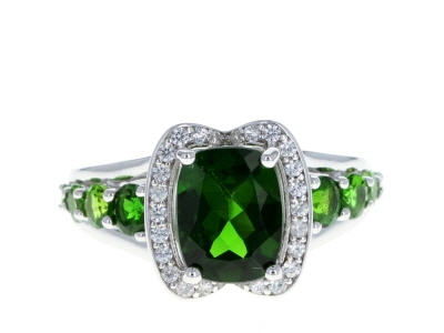 Green chrome diopside rhodium over silver ring 3.11ctw