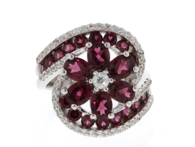 Purple raspberry color rhodolite rhodium over silver ring 4.98ctw