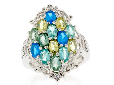 Mixed color apatite rhodium over silver ring 2.63ctw