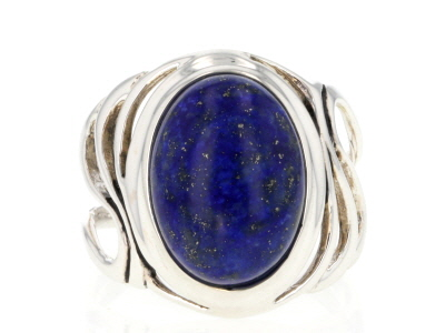 Blue lapis lazuli rhodium over sterling silver solitaire ring