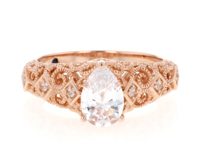 Cubic Zirconia 18k Rose Gold Over Silver Ring 2.33ctw