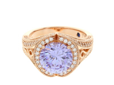 Purple And White Cubic Zirconia 18k Rose Gold Over Silver Ring 7.17ctw