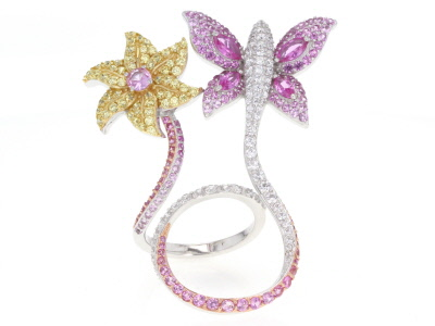 Synthetic Pink Corundum And Cubic Zirconia Platineve And 18k Rose And Yellow Silver Ring 6.09ctw