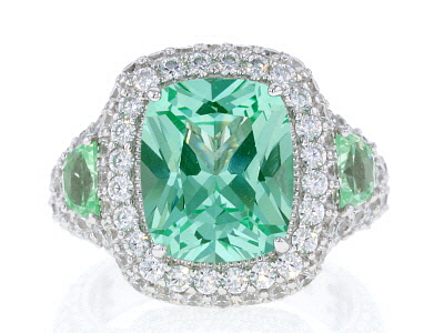 Synthetic Green Spinel & White Cubic Zirconia Platineve ™ Center Design Ring 11.77ctw