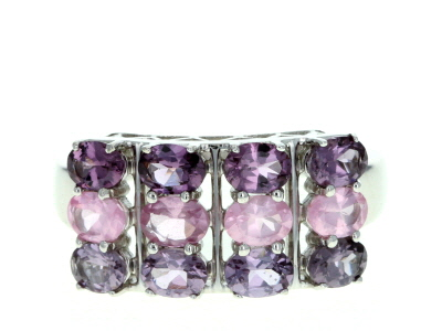 Mixed-color spinel rhodium over silver ring 2.02ctw