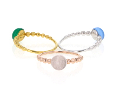 Multi-Gemstone Rhodium, 18k Rose & Yellow Gold Over Sterling Silver 3 Ring Set