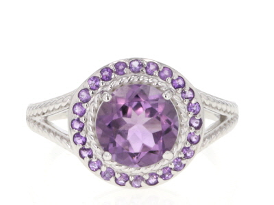 Purple amethyst rhodium over sterling silver ring 2.00ctw