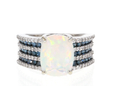 Ethiopian Opal Rhodium Over 14K White Gold Ring 2.59ctw
