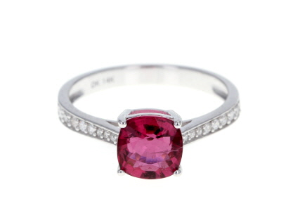 Pink Rubellite Rhodium Over 14k White Gold Ring 1.42ctw
