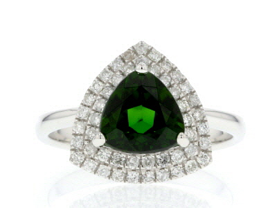 Green Russian Chrome Diopside Rhodium Over 14k White Gold Ring 1.93ctw
