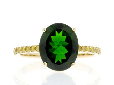 Green Russian Chrome Diopside 14k Yellow Gold Ring 3.52ctw