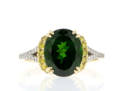 Green Russian Chrome Diopside 14k Yellow Gold Ring 3.71ctw