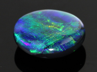 Black Opal 12.36x11.05mm Oval Cabochon 3.98ct