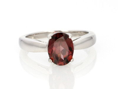 Red Zircon Sterling Silver Solitaire Ring 2.00ct