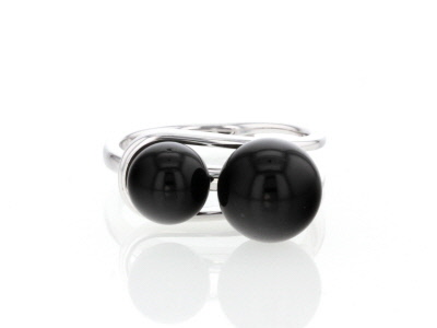 Black Onyx Sterling Silver 2-Stone Ring