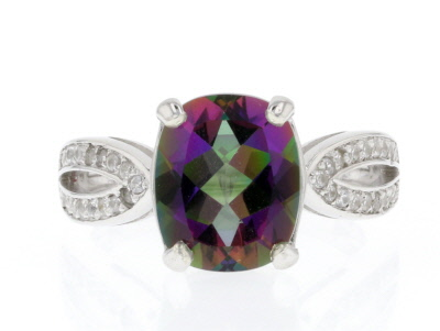 Green Mystic Fire® Topaz Sterling Silver Ring 4.15ctw