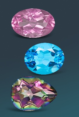 three topaz gemstones