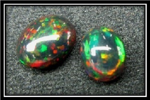 black opal gemstones with patterns