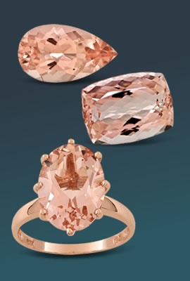 assorted morganite gems and ring