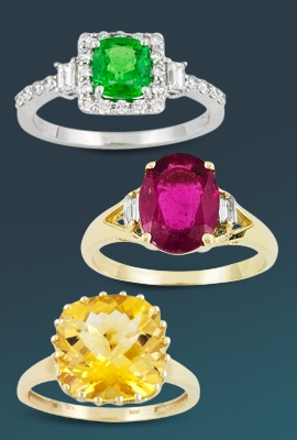 variety of gemstone engagement rings