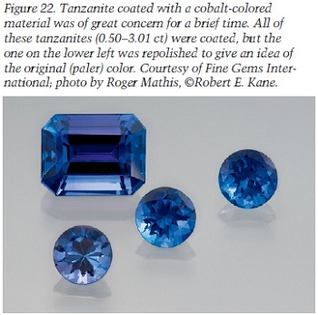 tanzanite coated with cobalt-colored material