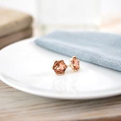 Morganite earrings on dish