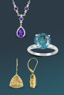 purple pendant necklace with gold clasp earrings and blue solitaire ring
