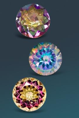 Three colorful topaz gemstones
