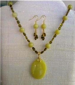 Olive Jade & Green Amber Necklace & Earrings Set