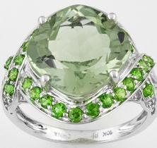green and silver prasiolite ring