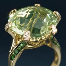 green and gold prasiolite ring