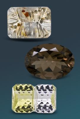 three quartz gemstones