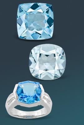 three light blue topaz gems