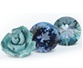 three blue gemstones