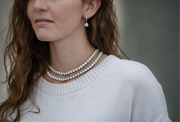 Woman wearing Bella Luce Luxe earrings and necklaces