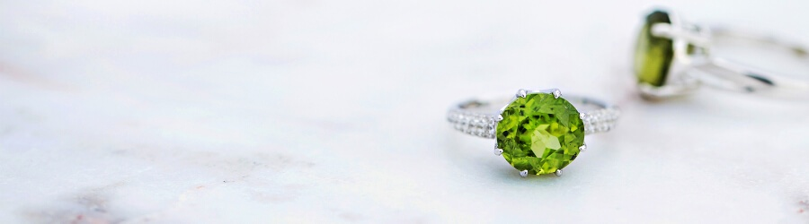 Peridot and silver rings