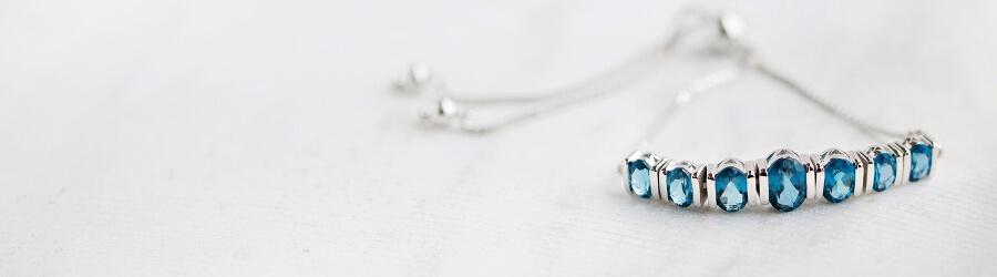 Blue Topaz gemstone bolo bracelet
