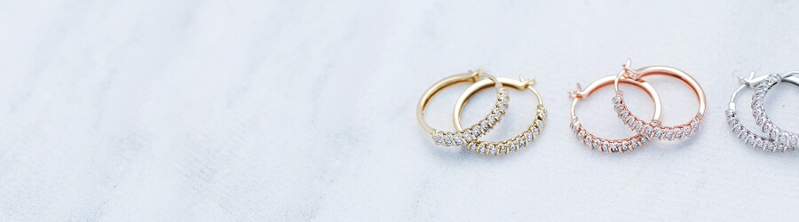 set of Diamond hoop earrings