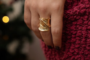 Woman wearing a gold ring