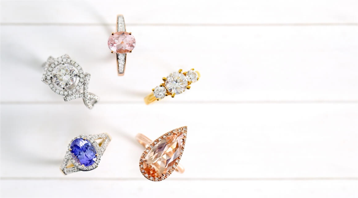 five gemstone engagement rings